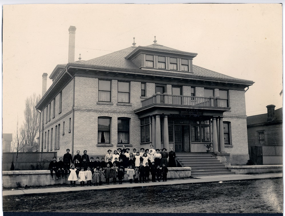 Photo caption: The Oriental Home and School, 100 Cormorant Street, Victoria, ca.1910. First Met Archives OHS_2004-0275-1